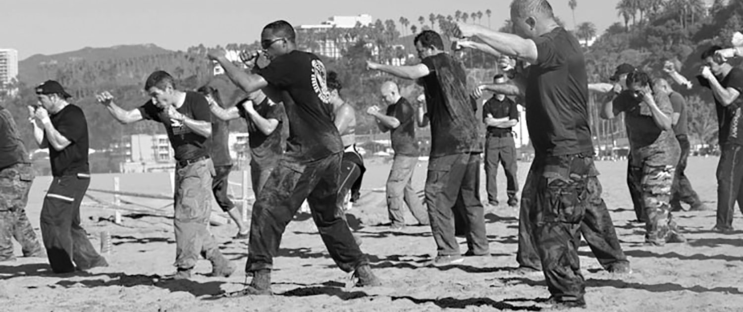 Krav Maga self defense training on the beach.